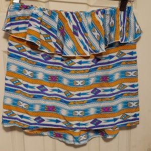 Silk strapless top with pattern